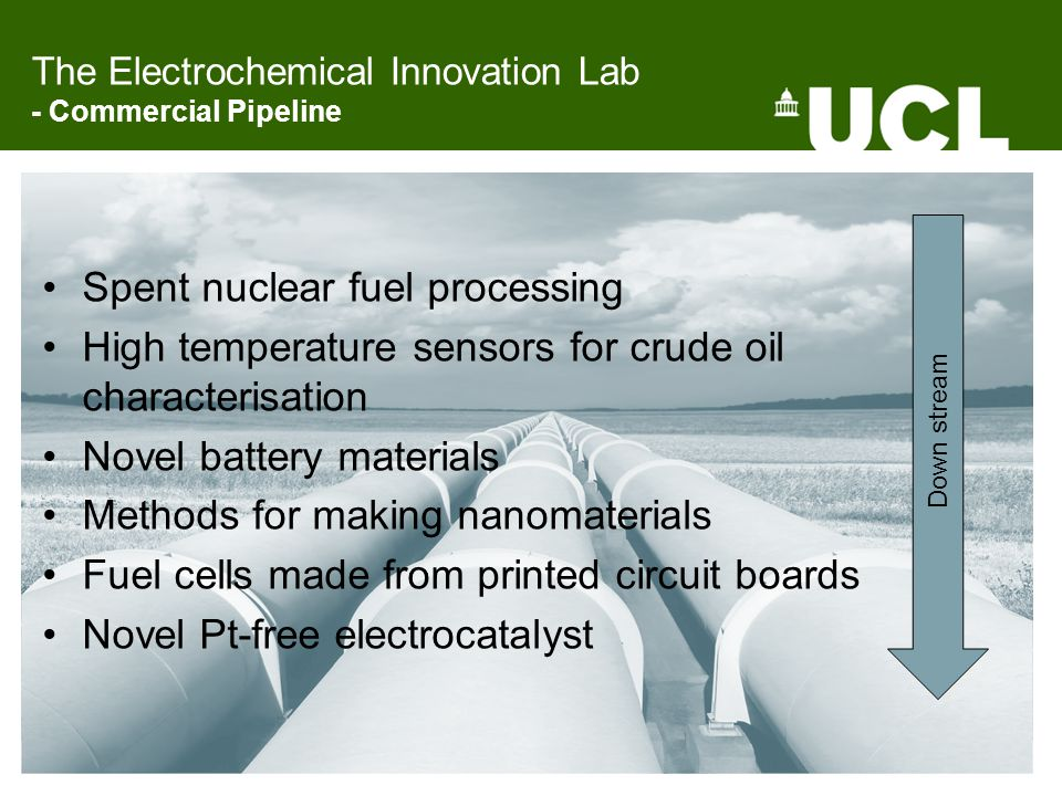 The Electrochemical Innovation Lab - Commercial Pipeline Spent nuclear fuel processing High temperature sensors for crude oil characterisation Novel battery materials Methods for making nanomaterials Fuel cells made from printed circuit boards Novel Pt-free electrocatalyst Down stream
