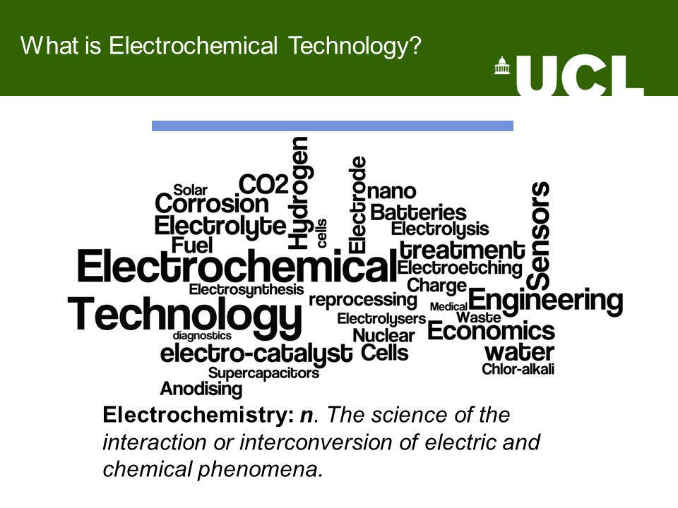 What is Electrochemical Technology.Electrochemistry: n.