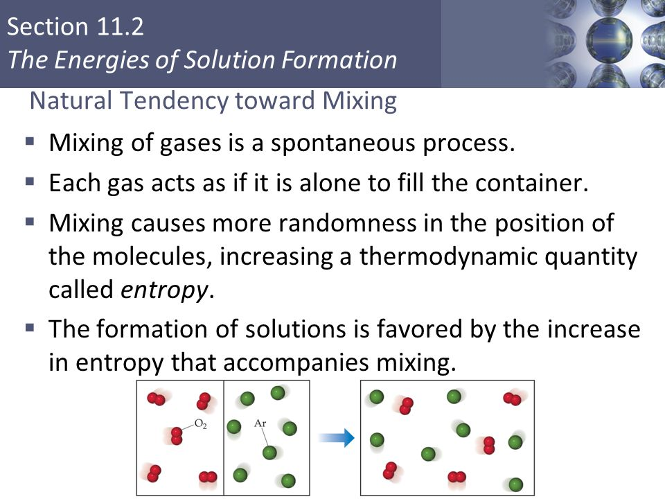 Section 11.2 The Energies of Solution Formation Natural Tendency toward Mixing  Mixing of gases is a spontaneous process.
