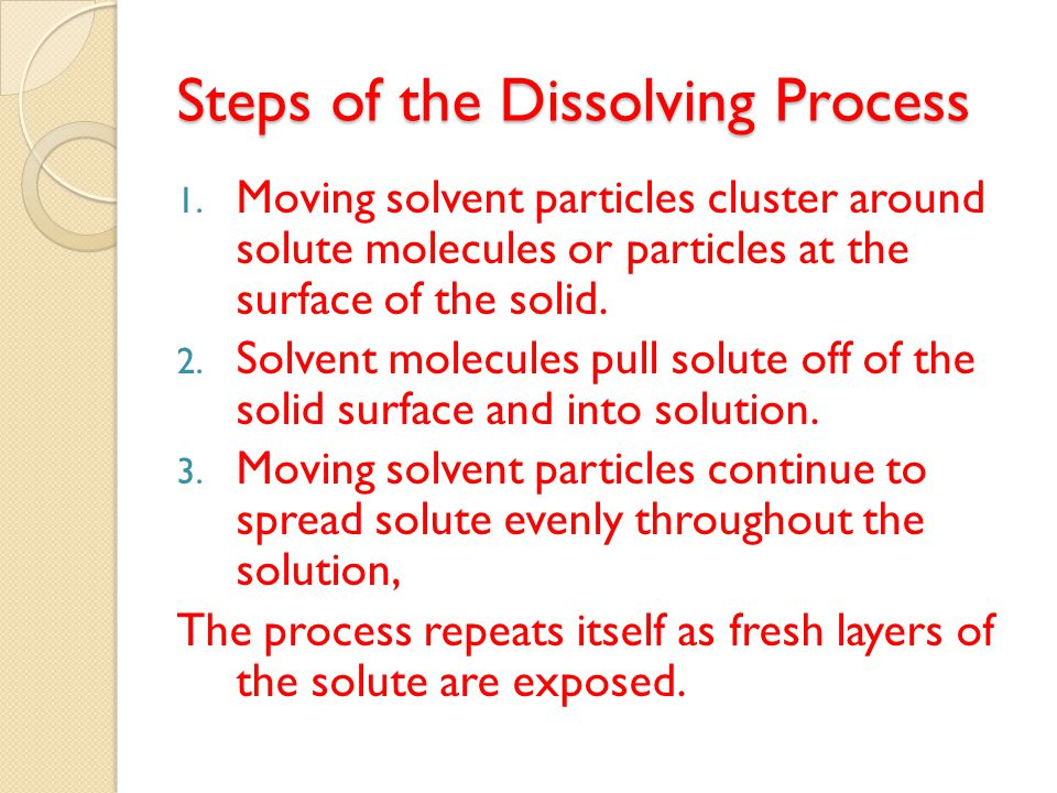 1.Solvent particles cluster around solute particles at the surface.
