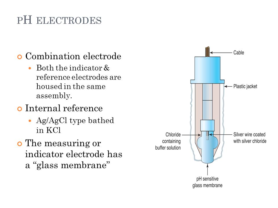 P H ELECTRODES 18 Combination electrode Both the indicator & reference electrodes are housed in the same assembly.