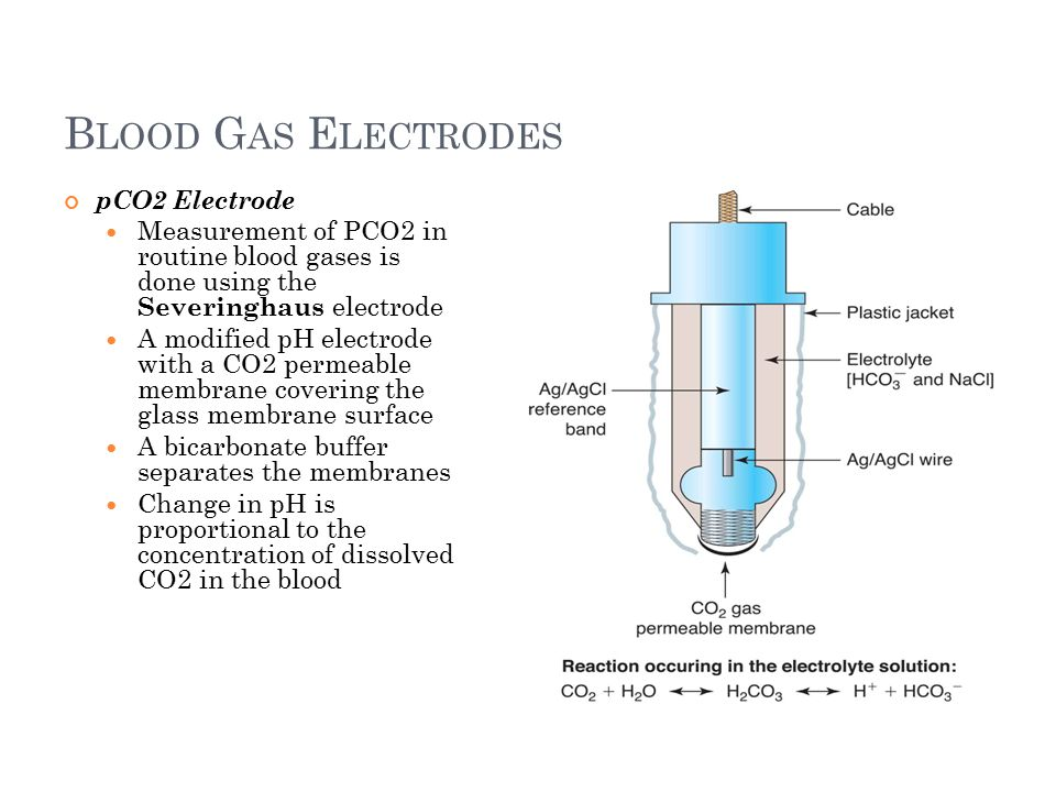 B LOOD G AS E LECTRODES 19 pCO2 Electrode Measurement of PCO2 in routine blood gases is done using the Severinghaus electrode A modified pH electrode with a CO2 permeable membrane covering the glass membrane surface A bicarbonate buffer separates the membranes Change in pH is proportional to the concentration of dissolved CO2 in the blood