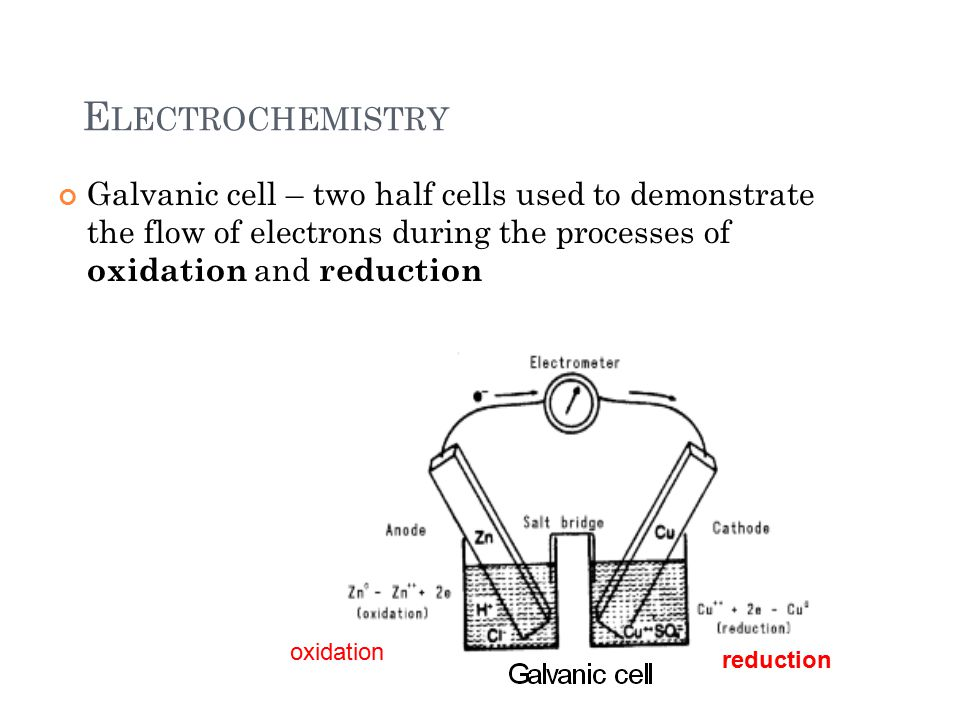 E LECTROCHEMISTRY Galvanic cell – two half cells used to demonstrate the flow of electrons during the processes of oxidation and reduction 4 reduction oxidation