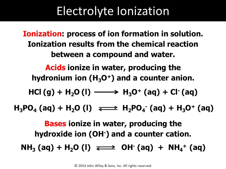 Ionization: process of ion formation in solution. Ionization results from the chemical reaction between a compound and water. Acids ionize in water, p