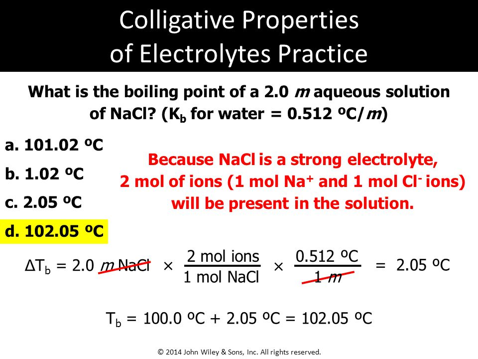 What is the boiling point of a 2.0 m aqueous solution of NaCl.
