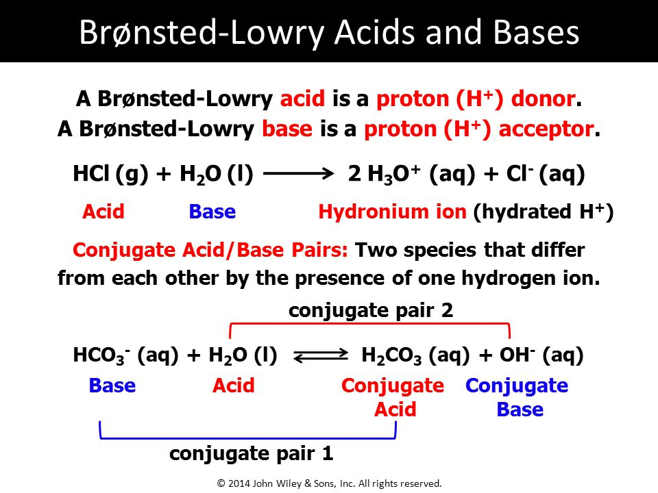 A Brønsted-Lowry acid is a proton (H + ) donor.A Brønsted-Lowry base is a proton (H + ) acceptor.