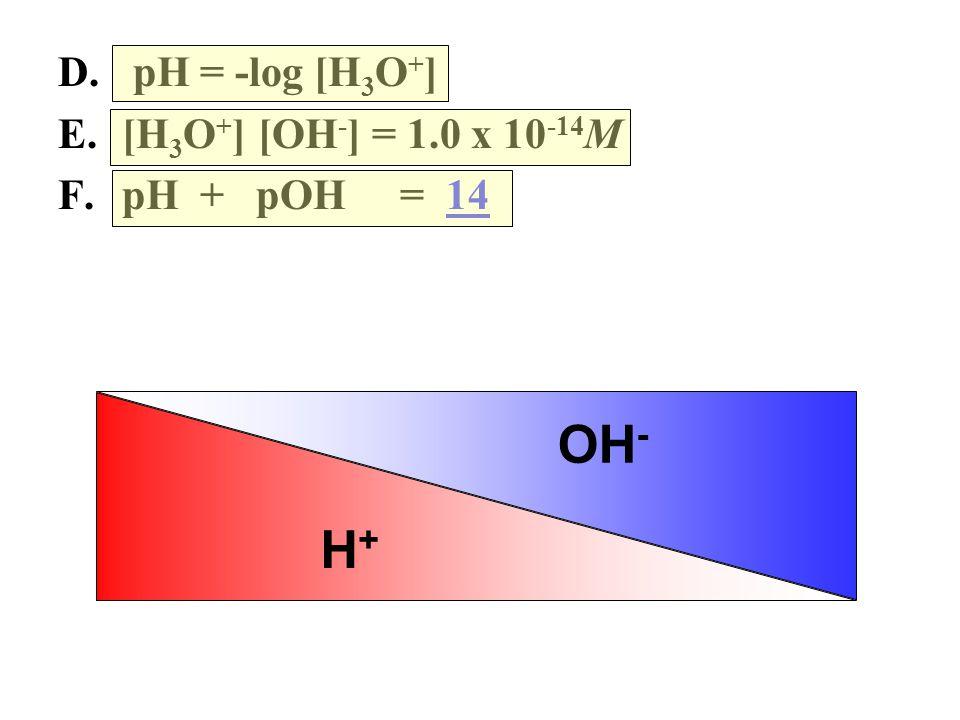 D. pH = -log [H 3 O + ] E.[H 3 O + ] [OH - ] = 1.0 x 10 -14 M F.pH + pOH = 14 H+H+ OH -