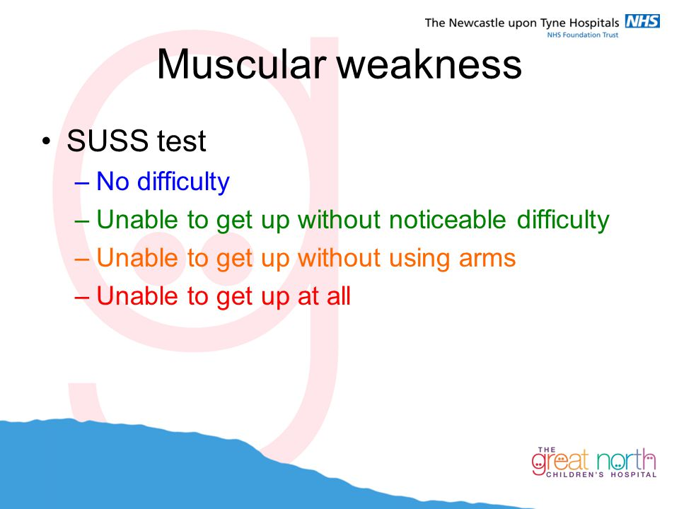 Muscular weakness SUSS test –No difficulty –Unable to get up without noticeable difficulty –Unable to get up without using arms –Unable to get up at a