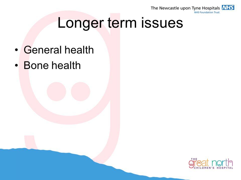 Longer term issues General health Bone health