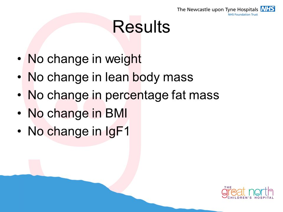 Results No change in weight No change in lean body mass No change in percentage fat mass No change in BMI No change in IgF1