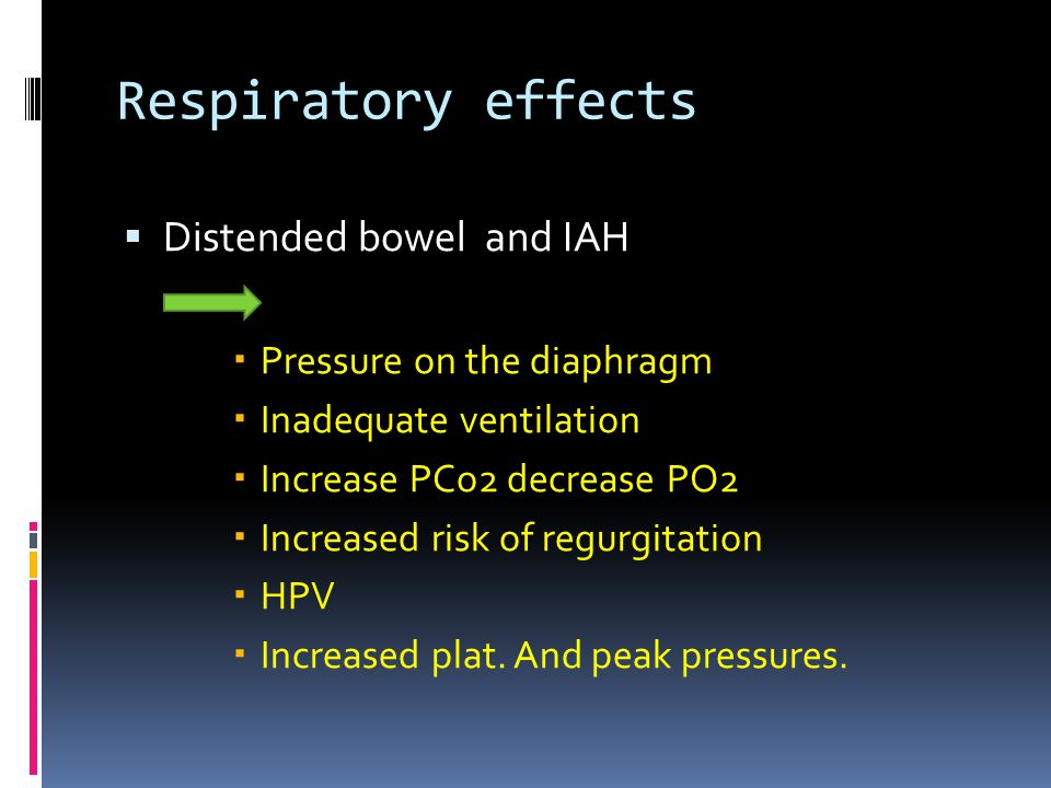 Respiratory effects  Distended bowel and IAH  Pressure on the diaphragm  Inadequate ventilation  Increase PCo2 decrease PO2  Increased risk of regurgitation  HPV  Increased plat.
