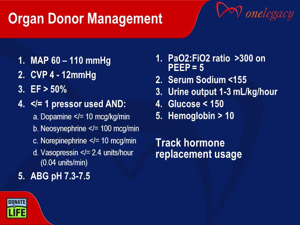 Organ Donor Management 1.MAP 60 – 110 mmHg 2.CVP 4 - 12mmHg 3.EF > 50% 4.</= 1 pressor used AND: a.Dopamine </= 10 mcg/kg/min b.Neosynephrine </= 100