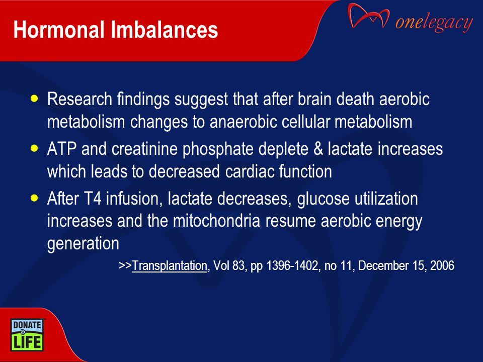 Hormonal Imbalances Research findings suggest that after brain death aerobic metabolism changes to anaerobic cellular metabolism ATP and creatinine ph