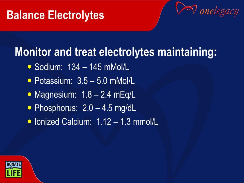 Balance Electrolytes Monitor and treat electrolytes maintaining: Sodium: 134 – 145 mMol/L Potassium: 3.5 – 5.0 mMol/L Magnesium: 1.8 – 2.4 mEq/L Phosp