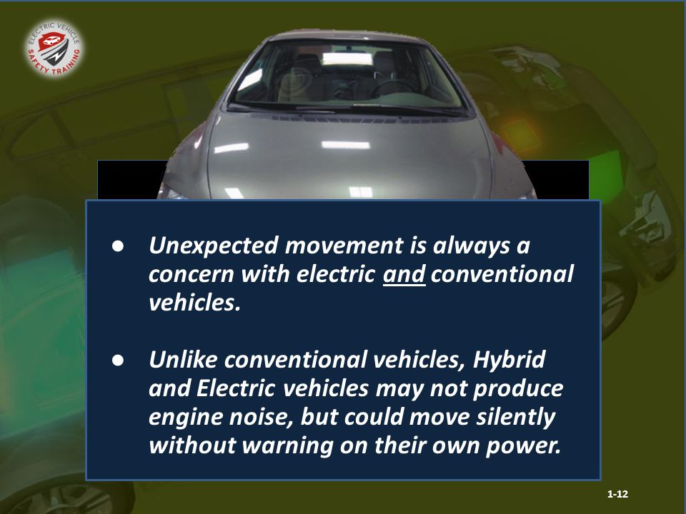 Hybrid Electric Vehicle Hybrid and electric vehicles may move unexpectedly at an emergency scene. 1-12 ●Unexpected movement is always a concern with e