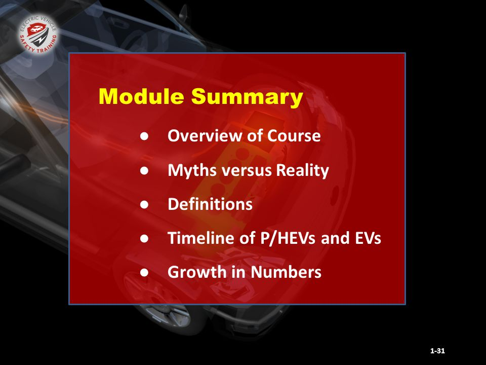 ● Overview of Course ● Myths versus Reality ● Definitions ● Timeline of P/HEVs and EVs ● Growth in Numbers 1-31 Module Summary