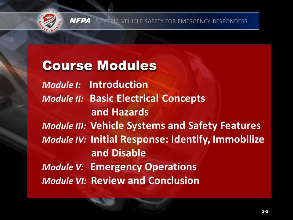 NFPA ELECTRIC VEHICLE SAFETY FOR EMERGENCY RESPONDERS Module I: Introduction Module II: Basic Electrical Concepts and Hazards Module III: Vehicle Systems and Safety Features Module IV: Initial Response: Identify, Immobilize and Disable Module V: Emergency Operations Module VI: Review and Conclusion 1-5 Course Modules