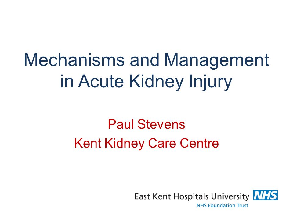 Mechanisms and Management in Acute Kidney Injury Paul Stevens Kent Kidney Care Centre