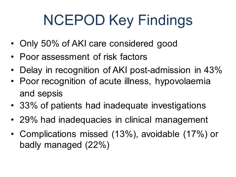 NCEPOD Key Findings Only 50% of AKI care considered good Poor assessment of risk factors Delay in recognition of AKI post-admission in 43% Poor recognition of acute illness, hypovolaemia and sepsis 33% of patients had inadequate investigations 29% had inadequacies in clinical management Complications missed (13%), avoidable (17%) or badly managed (22%)