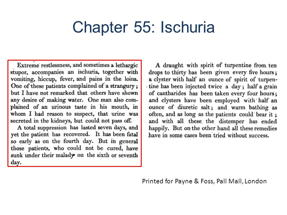 Chapter 55: Ischuria Printed for Payne & Foss, Pall Mall, London