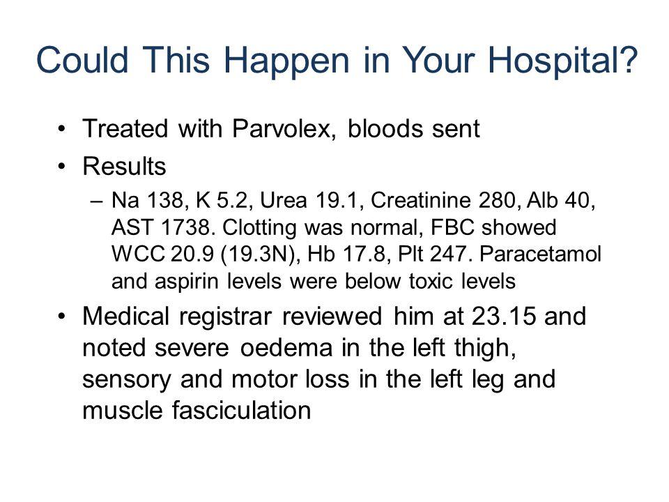 Treated with Parvolex, bloods sent Results –Na 138, K 5.2, Urea 19.1, Creatinine 280, Alb 40, AST 1738. Clotting was normal, FBC showed WCC 20.9 (19.3