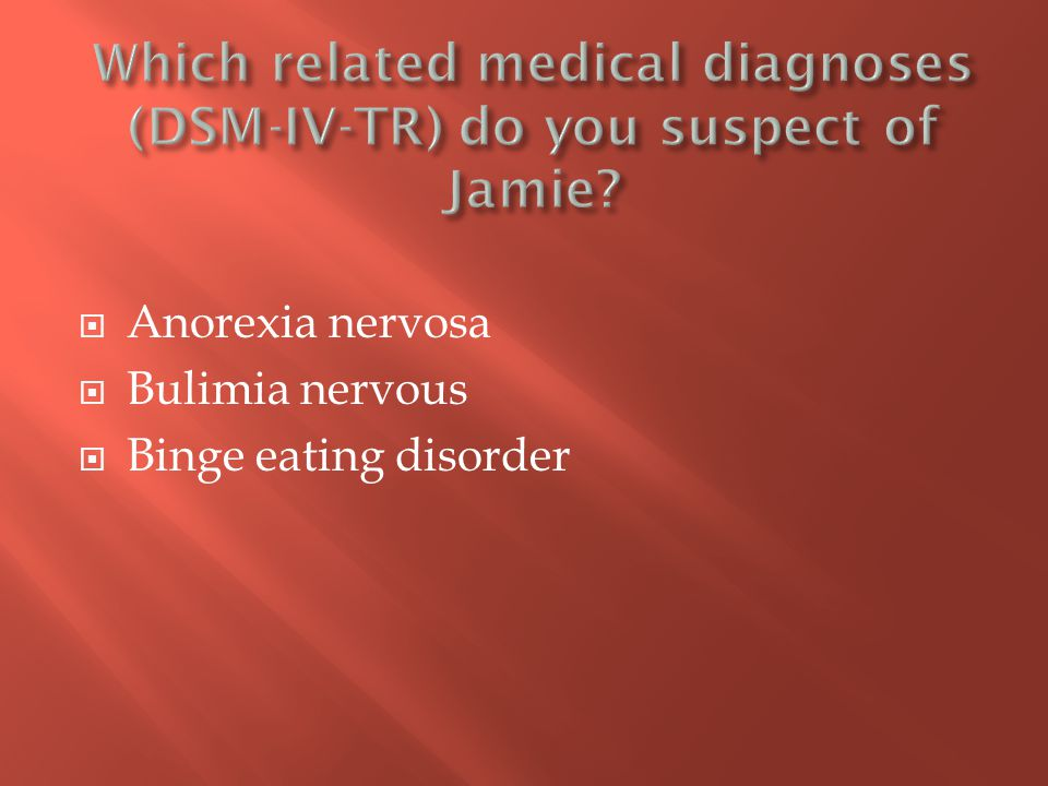  Anorexia nervosa  Bulimia nervous  Binge eating disorder