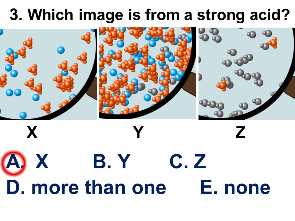 3. Which image is from a strong acid? A.X B. Y C. Z D. more than one E. none X Y Z