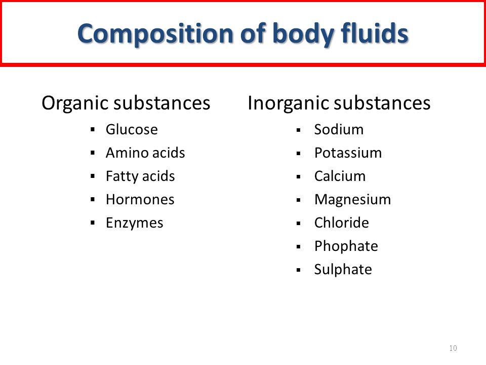 Organic substances  Glucose  Amino acids  Fatty acids  Hormones  Enzymes Inorganic substances  Sodium  Potassium  Calcium  Magnesium  Chlori