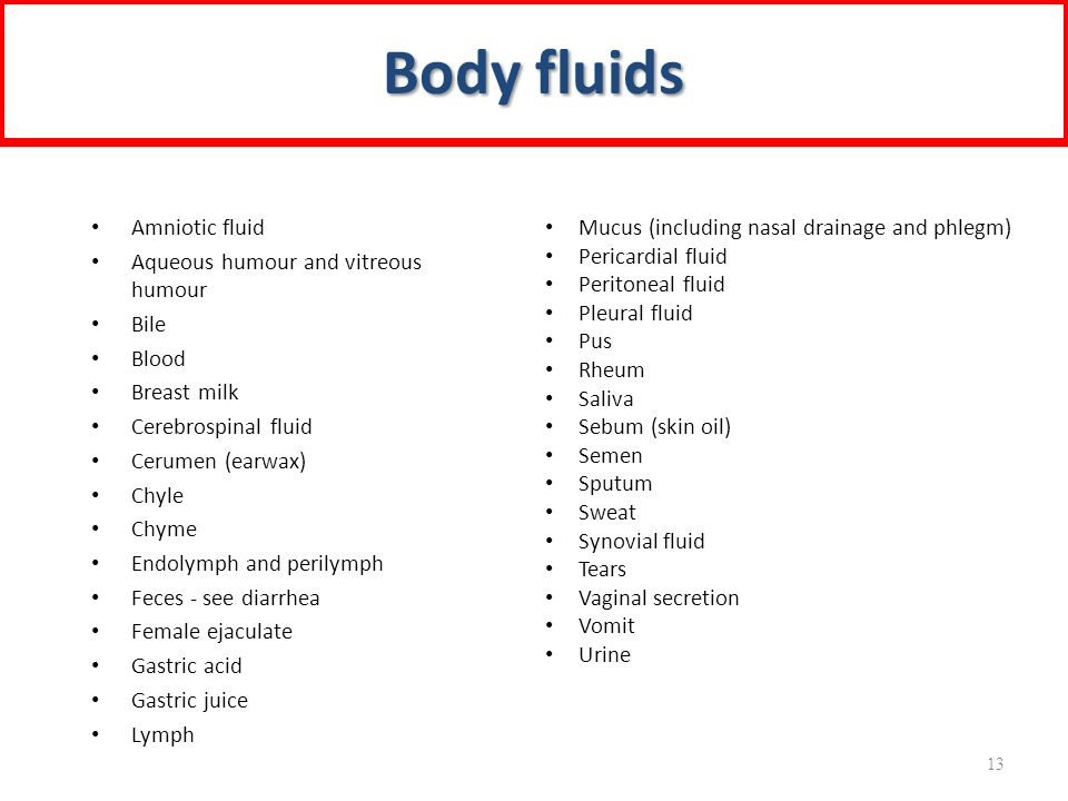 Amniotic fluid Aqueous humour and vitreous humour Bile Blood Breast milk Cerebrospinal fluid Cerumen (earwax) Chyle Chyme Endolymph and perilymph Feces - see diarrhea Female ejaculate Gastric acid Gastric juice Lymph Mucus (including nasal drainage and phlegm) Pericardial fluid Peritoneal fluid Pleural fluid Pus Rheum Saliva Sebum (skin oil) Semen Sputum Sweat Synovial fluid Tears Vaginal secretion Vomit Urine Body fluids 13