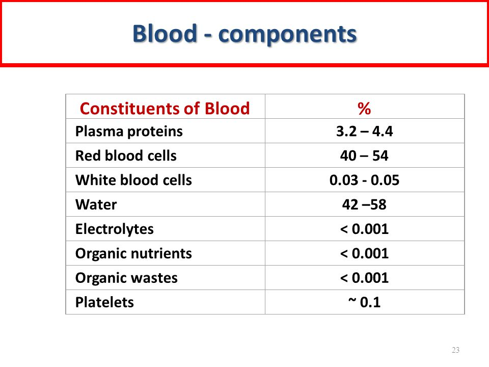 Constituents of Blood% Plasma proteins3.2 – 4.4 Red blood cells40 – 54 White blood cells0.03 - 0.05 Water42 –58 Electrolytes< 0.001 Organic nutrients< 0.001 Organic wastes< 0.001 Platelets~ 0.1 Blood - components 23