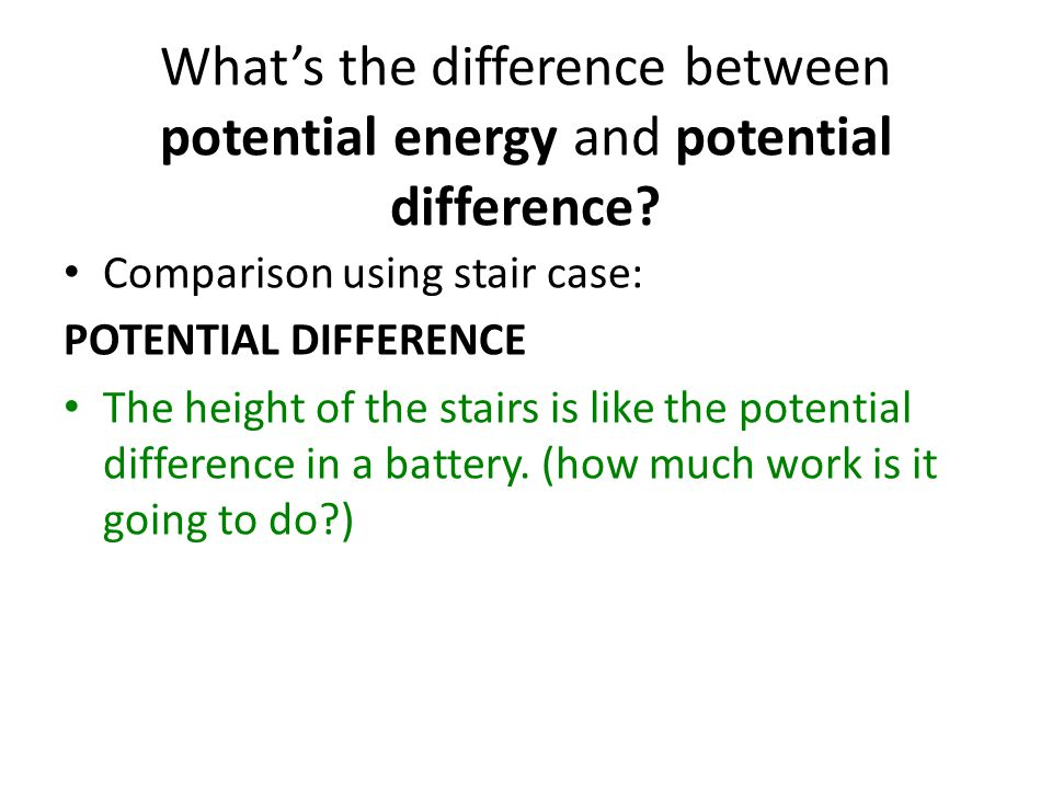 What's the difference between potential energy and potential difference.