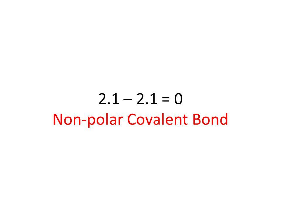 2.1 – 2.1 = 0 Non-polar Covalent Bond
