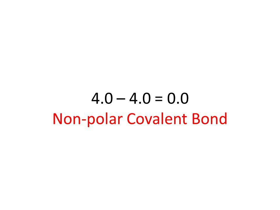 4.0 – 4.0 = 0.0 Non-polar Covalent Bond