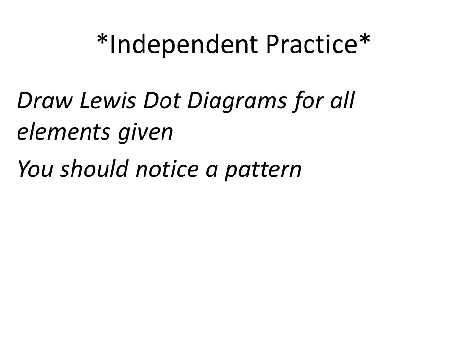 Draw Lewis Dot Diagrams for all elements given You should notice a pattern *Independent Practice*