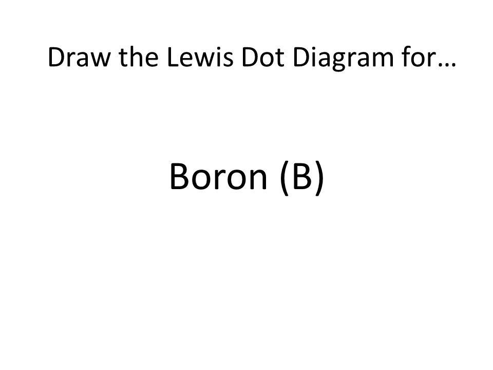 Boron (B) Draw the Lewis Dot Diagram for…