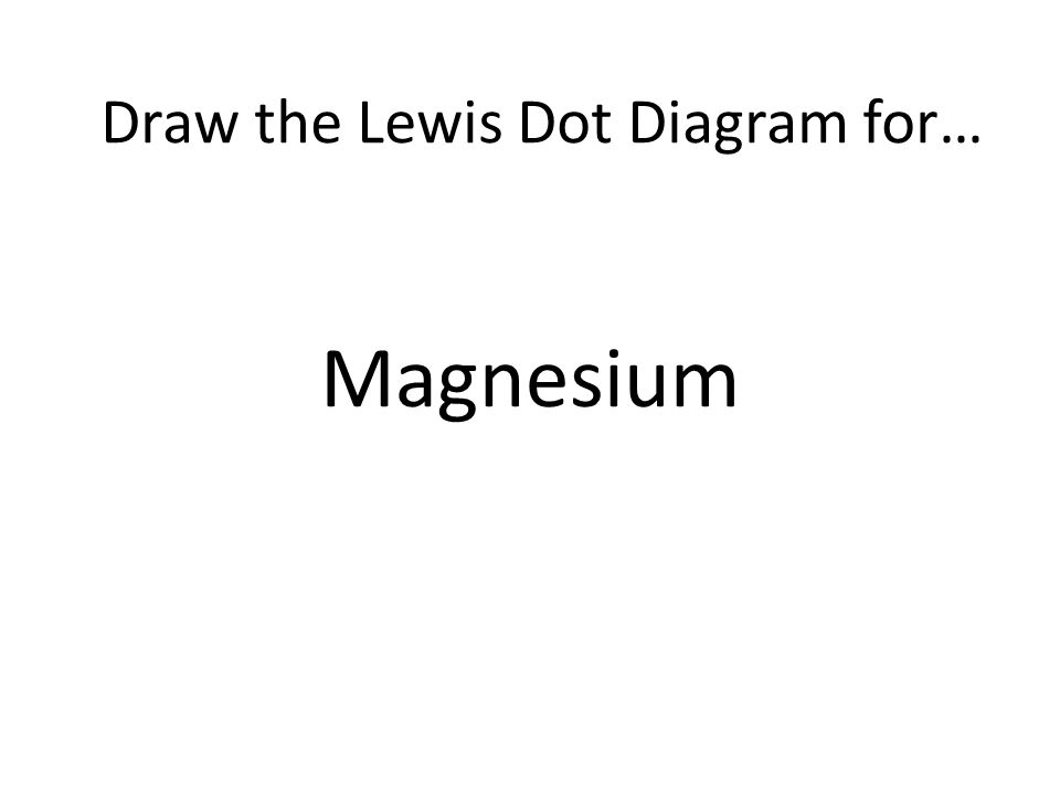 Magnesium Draw the Lewis Dot Diagram for…