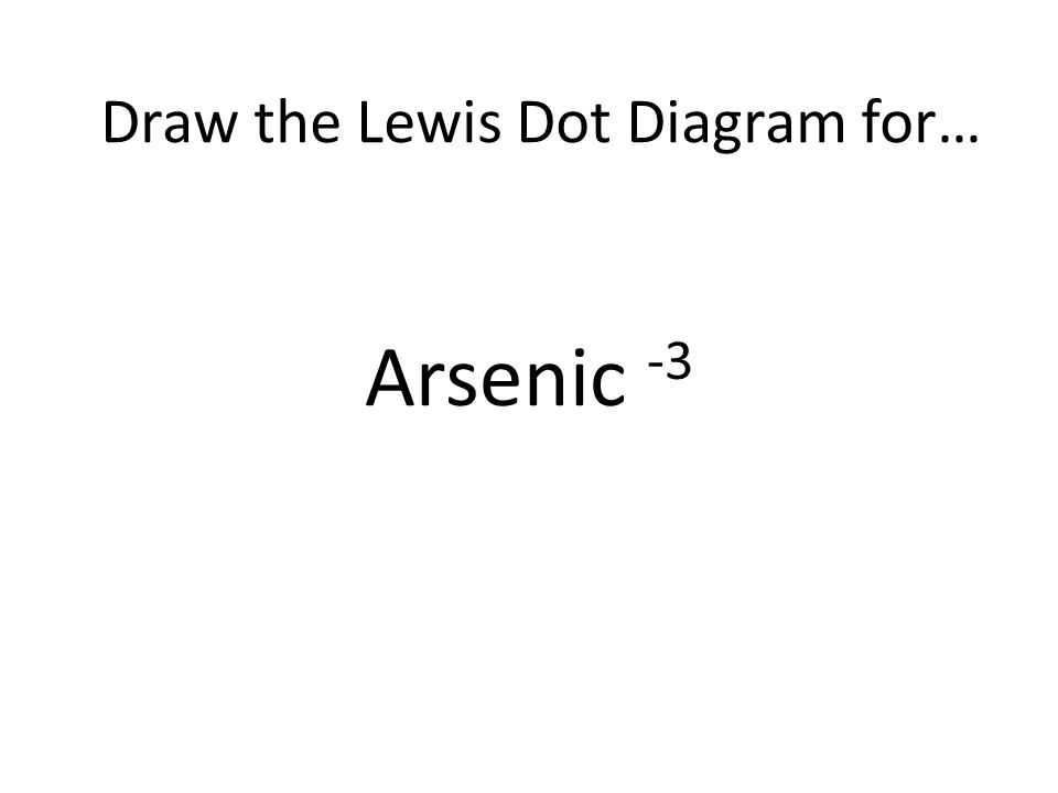 Arsenic -3 Draw the Lewis Dot Diagram for…