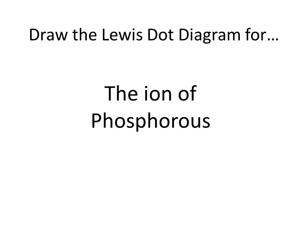 The ion of Phosphorous Draw the Lewis Dot Diagram for…