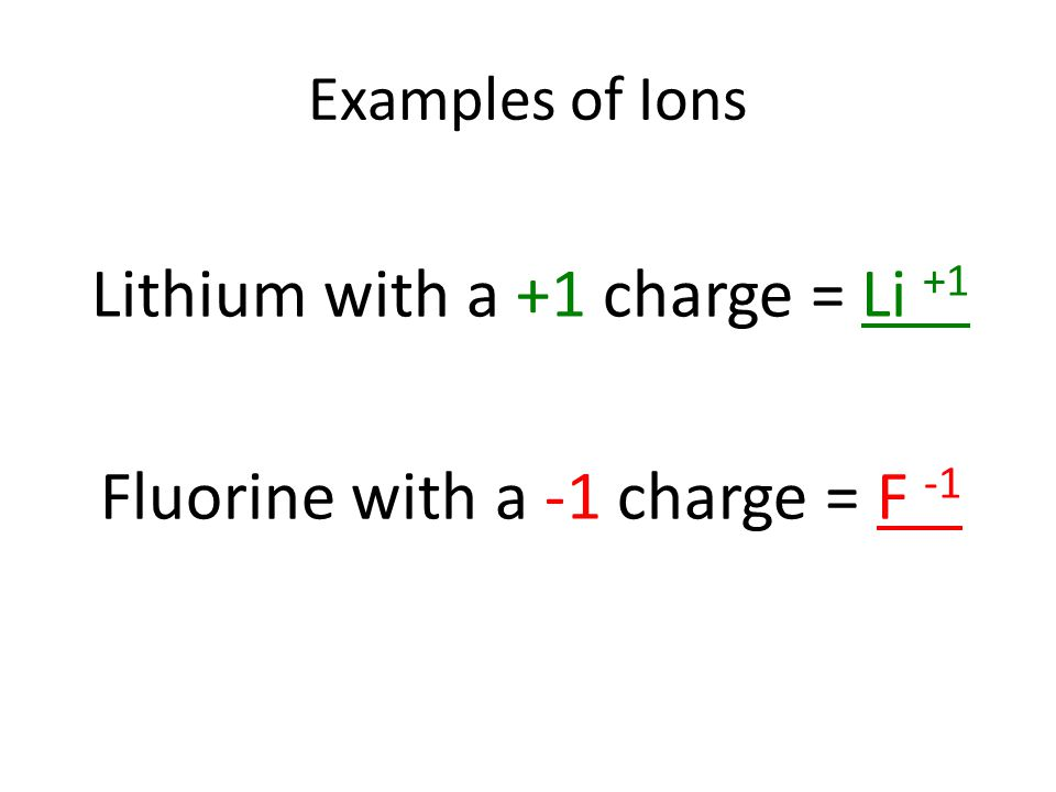Lithium with a +1 charge = Li +1 Fluorine with a -1 charge = F -1 Examples of Ions