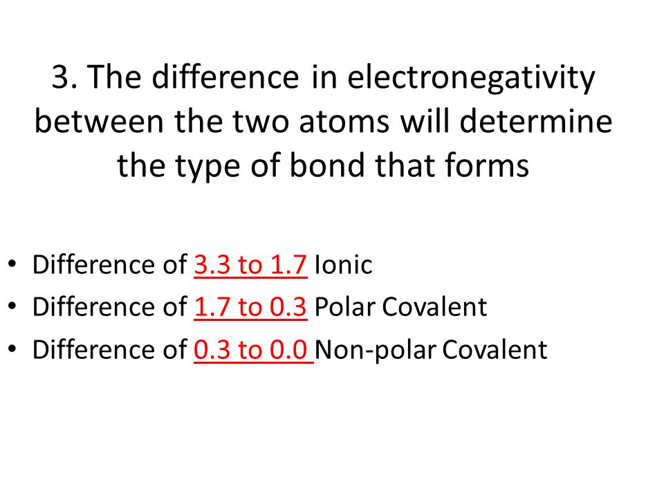 3. The difference in electronegativity between the two atoms will determine the type of bond that forms Difference of 3.3 to 1.7 Ionic Difference of 1