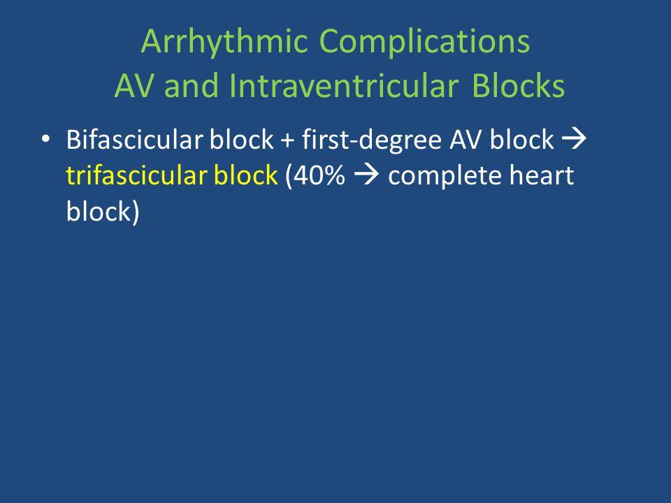 Arrhythmic Complications AV and Intraventricular Blocks Bifascicular block + first-degree AV block  trifascicular block (40%  complete heart block)