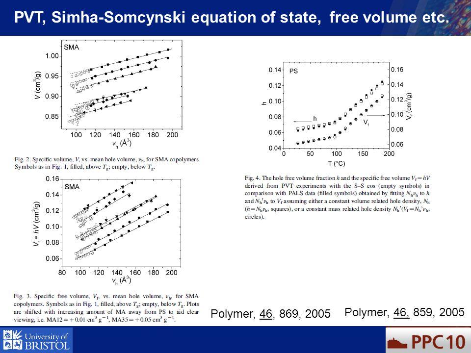 PVT, Simha-Somcynski equation of state, free volume etc. Polymer, 46, 869, 2005 Polymer, 46, 859, 2005