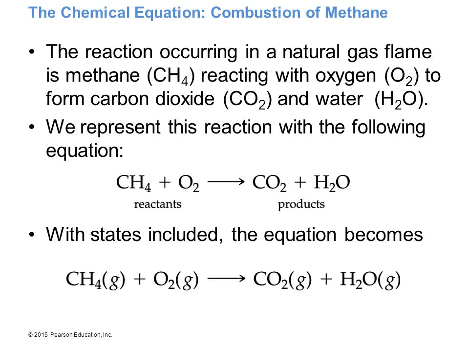 © 2015 Pearson Education, Inc. The Chemical Equation: Combustion of Methane The reaction occurring in a natural gas flame is methane (CH 4 ) reacting