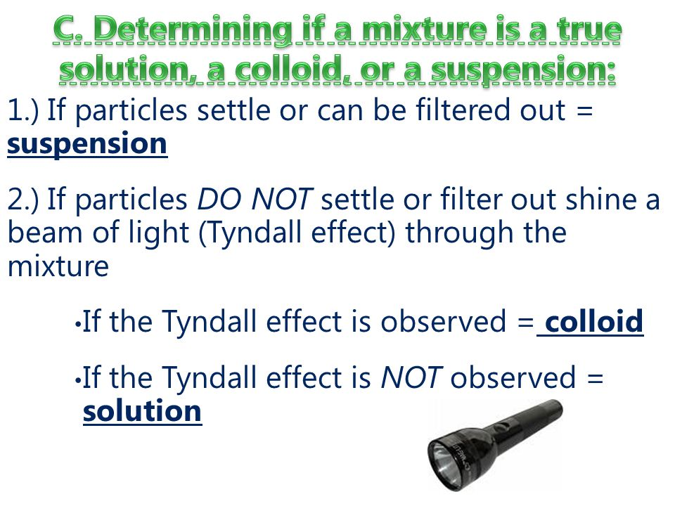 1.) If particles settle or can be filtered out = suspension 2.) If particles DO NOT settle or filter out shine a beam of light (Tyndall effect) through the mixture If the Tyndall effect is observed = colloid If the Tyndall effect is NOT observed = solution