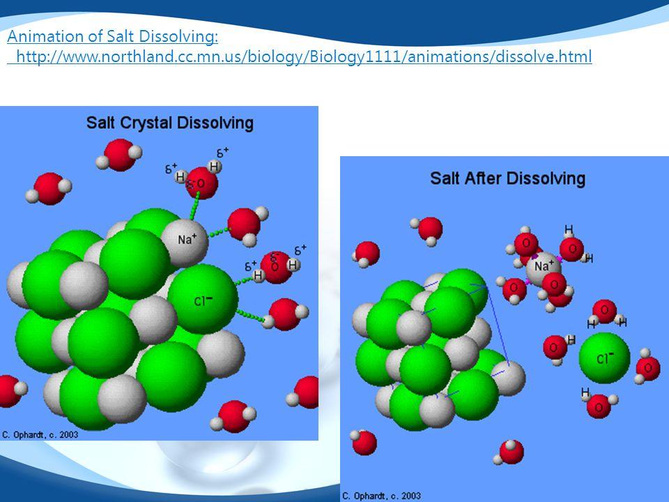 Animation of Salt Dissolving: http://www.northland.cc.mn.us/biology/Biology1111/animations/dissolve.html