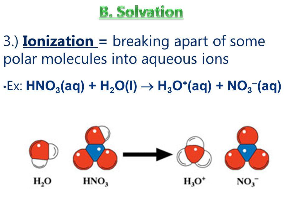 3.) Ionization = breaking apart of some polar molecules into aqueous ions Ex: HNO 3 (aq) + H 2 O(l)  H 3 O + (aq) + NO 3 – (aq)