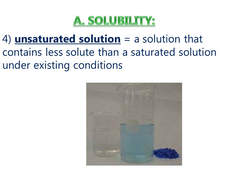 4) unsaturated solution = a solution that contains less solute than a saturated solution under existing conditions