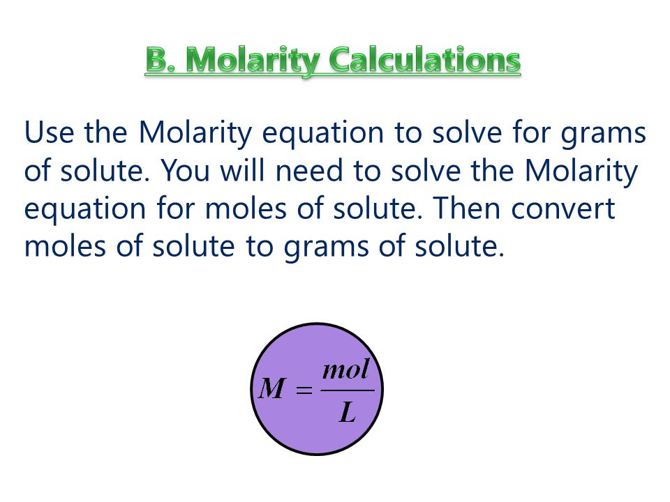 Use the Molarity equation to solve for grams of solute.
