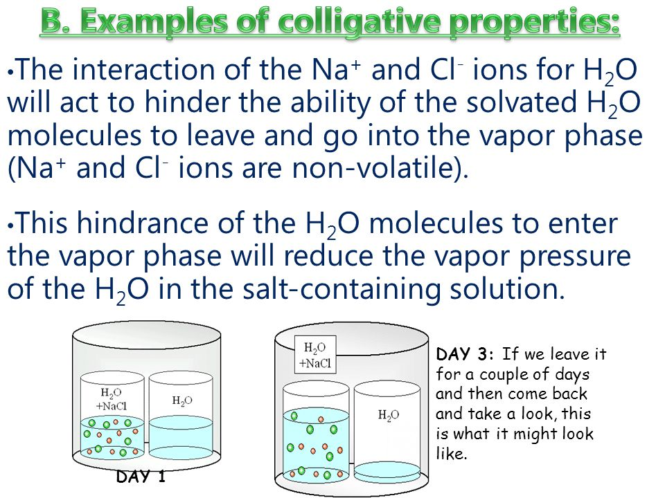 The interaction of the Na + and Cl - ions for H 2 O will act to hinder the ability of the solvated H 2 O molecules to leave and go into the vapor phase (Na + and Cl - ions are non-volatile).