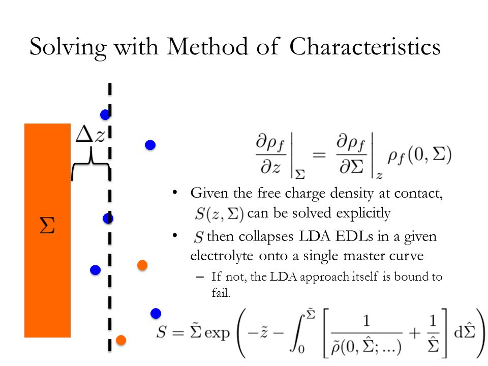 Solving with Method of Characteristics Given the free charge density at contact, dddddddd can be solved explicitly then collapses LDA EDLs in a given electrolyte onto a single master curve – If not, the LDA approach itself is bound to fail.